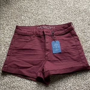 American Eagle Burgundy Jean Shorts